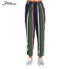 Women Color Block Stripe High Waist Straight Pants Trousers Elegant Casual Loose Ankle Length Pants with Slash #Affiliate