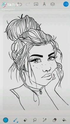 Girl Drawing Sketches, Anime Girl Drawings, Cool Art Drawings, Easy Drawings, Cool Drawings Tumblr, Art And Illustration, Graffiti Doodles, Pix Art, Cartoon Kunst