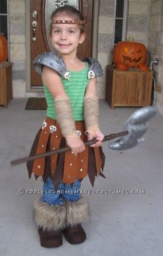 Astrid: Viking Dragon Warrior Costume Homemade for Preschool Age...