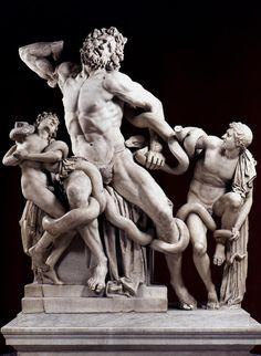 Laocoön en zijn zonen, 42 - 21 BC door Agesander, Athenodoros en Polydorus. Vaticaanse musea.