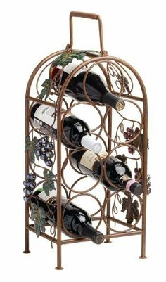 True Fabrications Cascade Vineyard 7 Wine Bottle Rack and Holder by Truefabrications. $32.75. Easy Grip Handle to carry and move around this rack. Metal construction with glass grapes. Holds 7 Bottles of Wine. Don't just store your iwn in a cabinet.  Show them off!  These wine racks will allow you to showcase your favorite wines around your home and kitchen.  Choose from several varieties that hold a multiple bottles from True Fabrications.