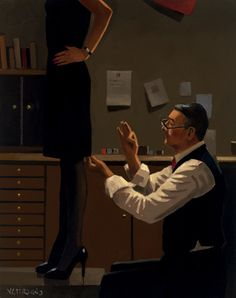 Jack Vettriano, OBE is a Scottish painter. His 1992 painting, The Singing Butler, became a best-selling image in Britain. For biographical notes -in english and italian- and other works by Vettriano see: Jack Vettriano, 1951 Jack Vettriano, Edward Hopper, The Singing Butler, Michael Carter, Pin Up, Pulp Fiction, Limited Edition Prints, Dressmaking, Pulp Art