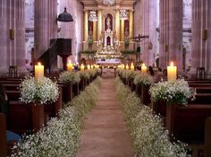 church wedding Wedding Church Decor in white and some candles by Floreria Casablanca Decoracion. Wedding Church Aisle, Wedding Ceremony, Church Weddings, Pew Decorations, Church Wedding Decorations Rustic, Deco Champetre, Church Flowers, Deco Floral, Wedding Bouquets