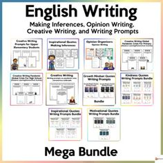 This bundle is all about English writing. It includes making inferences, creative writing, opinion writing and writing prompts. A. Inspirational Quotes: Making Inference Using quotes that will inspire and encourage to understand how to make inferences. Included is a worksheet that students can use t...