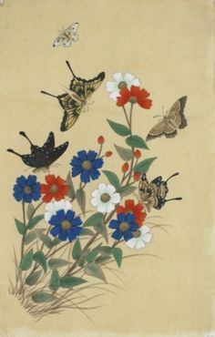 Butterflies and flowers2 / Color on korean paper, 2012 /