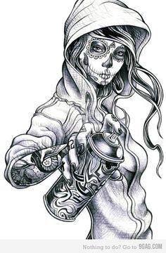 Sugar Skull Graffiti Girl