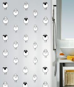 #Spirella Lana shower curtain - silver, black & white with cute sheep. Baa.