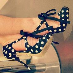 Amazing White Dots Black Stiletto Heel Bow Ties Women Sandals