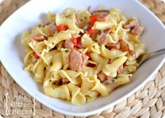 Ham and pasta skillet dinner. This is Ben's favorite pasta dish, and Reid and I gobble it right up. We'll definitely make this (and Mel's split pea soup) every time we have leftover ham.