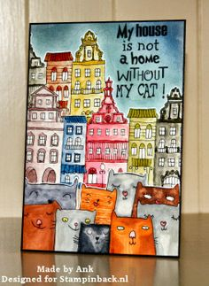 STAMPINBACK.NL : Cats & Houses New Home Cards, House Of Cards, Atc Cards, Greeting Cards, Crazy Cats, Doodle Art, I Card, Print Patterns, Pintura
