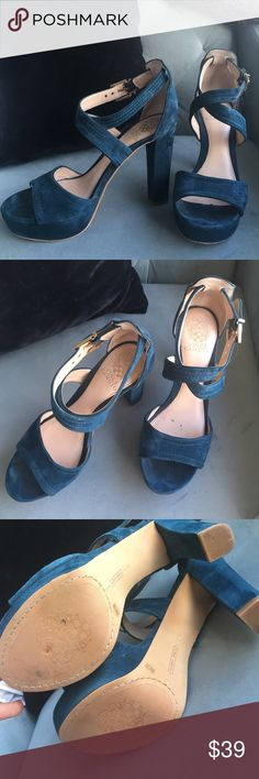 Vince Camuto Sandals - 8 - box available Turquoise Suede, worn 2x. Barely signs of wear. Almost New. Gold hardware. So cute!!! Vince Camuto Shoes Sandals