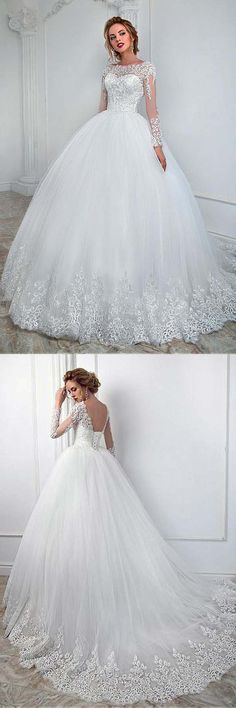Elegant Bateau Neckline Ball Gown Wedding Dress With Lace Appliques WD193 #weddings #weddingdress