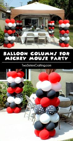 Balloon Columns for a Mickey Mouse Party are so easy to create and will really add pizzazz to your Mickey Mouse Birthday Party decorations. We walk you through the process for creating DIY balloon columns for parties and events with pictures and step by step instructions. Follow us for more great Mickey Mouse Party Ideas.