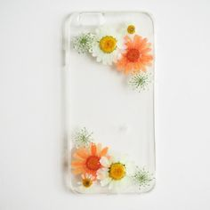 The Summer Favor (handmade pressed little white & Orange daisy flower phone case)