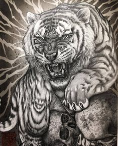 I did this tiger drawing for upcoming art exhibition together with sensei next year October. I am truly honored 🙏🏻This is done… Tiger Drawing, Tiger Art, Tiger Skull, Tiger Tattoo Design, Tattoo Designs, Tiger Design, Tattoo Sketches, Tattoo Drawings, Frases Para Tattoo