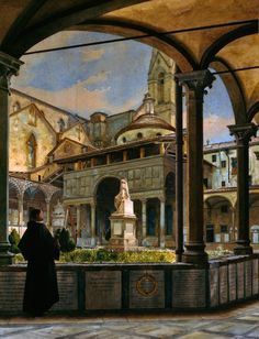 The Pazzi Chapel, The Basilica of Santa Croce in Florence by Odoardo Borrani. Michelangelo, A4 Poster, Poster Prints, Italian Paintings, Italy Art, Italy Tours, Italian Artist, Vintage Artwork, Beautiful Paintings