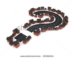 3d render of a housing development in the shape of a question mark