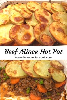 Beef Mince Hot Pot- hot pot with a bit of a twist using beef mince, cooked down with carrots and peas and topped off with slices of potato. A delicious family dinner recipe, very easy to make. recipe slimming world Beef Mince Hot Pot Mince Dishes, Beef Dishes, Meals With Mince Beef, Hot Pot, Slimming World Mince Recipes, Slimming World Meals, Slimming World Cottage Pie, Meat Recipes, Cooking Recipes
