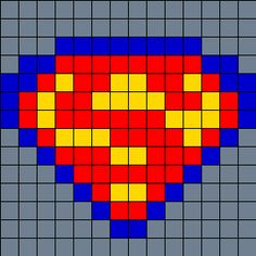 Superman on small square pegboard bead pattern