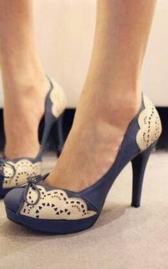 Beautiful, Lovely, Blue, White, Patterned, High-heels Shoes. | Street Fashion