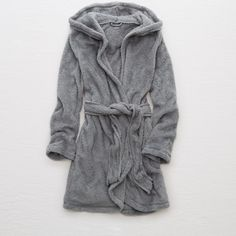 Aerie Fuzzy Robe ($55) ❤ liked on Polyvore featuring intimates, robes, grey, grey robe, dressing gown, aerie bathrobe, bath robes and hooded bathrobe