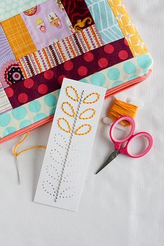 bookmark - have Caro do as Xmas presents - punch names of Grandparents for her to stitch
