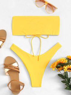 04f9350232 Lace-Up Bandeau Top With High Leg Bikini Set- Yellow – WEARWHO --