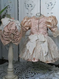 ~~~ Pretty Antique French Rose Silk Dress with Bonnet ~~~ from whendreamscometrue on Ruby Lane