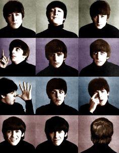 John Lennon, Richard Starkey, Paul McCartney, and George Harrison (A Hard Day's Night in color!)