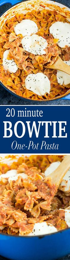 One Pot Tomato Mozzarella Bow Tie Pasta recipe made with crushed tomatoes, heavy cream, and simple spices. Top with fresh mozzarella for a quick dinner! Veggie Recipes, Dinner Recipes, Veggie Meals, Healthy Recipes, One Pot Dinners, Tomato Mozzarella, Good Food, Yummy Food, One Pot Pasta