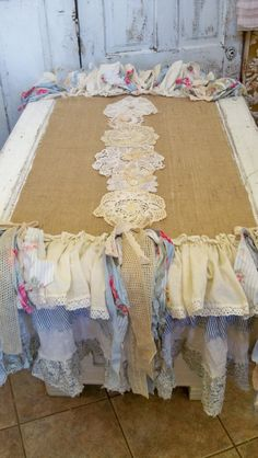 Table runner shabby chic ruffles salvaged by AnitaSperoDesign, $165.00