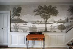 Historic Rufus Porter mural inside the Oliver Wight House at the Old Sturbridge Inn _BM Sturbridge Village, Wall Murals, Wall Art, American Interior, Focal Wall, Love Your Home, Landscape Wallpaper, Cool Wallpaper, Wall Colors