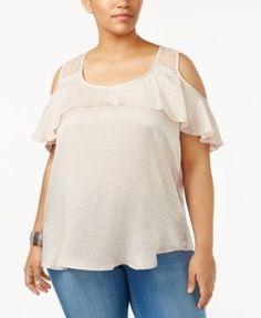 Almost Famous Trendy Plus Size Cold-Shoulder Top - Tan/Beige 3X