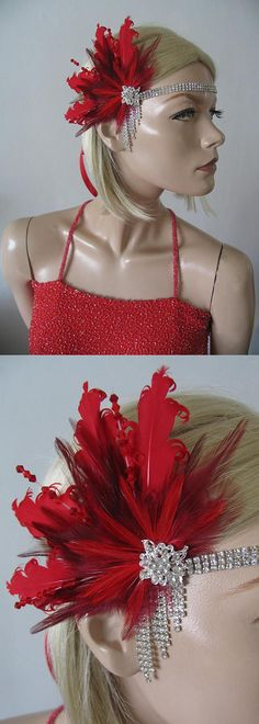 "Red + Burgundy Feathers Fan Flapper Crystal Headband ""Jules"" 2 Days to Make Gatsby Art Deco Fascinator Party Prom Ball Headpiece Flapper Headband, Wedding Headband, Headpiece, Red Fascinator, Wedding Hair, Forehead Headband, Gatsby Party, 20s Party, 1920s Flapper"