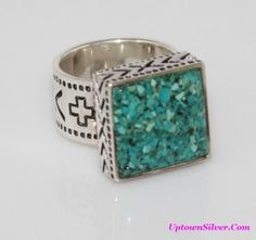 Silpada Artisan Jewelry Size 8.5 - 9 Square Crushed Turquoise Stone Sterling Silver Southwest Ring Retired Rare