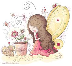 Whimsical digital illustration of a cute little garden fairy. The illustrations will be printed on satin, acid-free Epson premium photo Art And Illustration, Cute Images, Cute Pictures, Nursery Art, Fairy Nursery, Cute Drawings, Cute Art, Illustrators, Prints