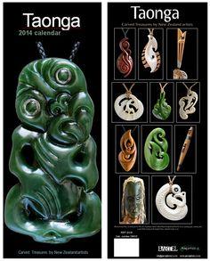Maori Taonga calendar featuring the work of top New Zealand master carvers in bone, jade, wood and shell.  www.boneart.co.nz