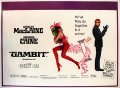 Gambit Michael Caine Shirley MacLaine, 1966 - original vintage British quad movie poster for Gambit, the Ronald Neame crime comedy starring Shirley MacLaine and Michael Caine, listed AntikBar.co.uk