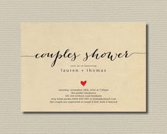 Printable Couples Shower Invitation - Simple & Sweet Love Heart Design on Brown Paper Background (BR82). $18.00, via Etsy.