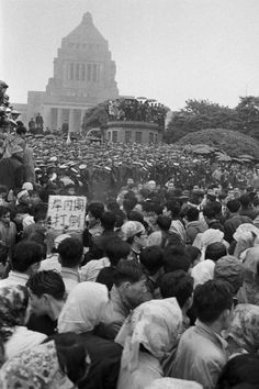 JAPAN. Tokyo. June 18, 1960, demonstrators surrounded Diet Building in protest against the signing of a new Japan-U.S. Security Treaty. (photo by Hiroji Kubota/Magnum Photos)