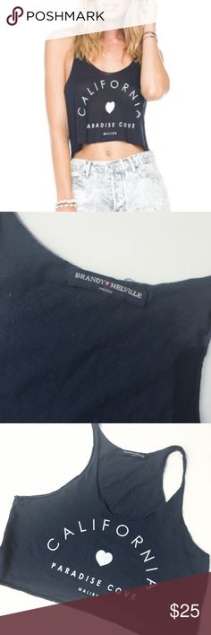 """BRANDY MELVILLE NAVY CALIFORNIA CROP TOP Sleeveless Crop top RACERBACK style Says California paradise cove Malibu   Color: Navy blue, White  Size: One Size  Condition: Excellent - no imperfections  Material: 100% Cotton  Measurements: LENGTH: 15"""" BUST: 34""""  No stains, rips, tears 