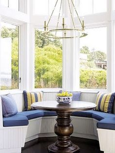 Bay Window Seat Nook And Round Wooden Table And Chandelier , Bay Window Seat Styles In Home Design and Decor Category Dining Nook, House, Interior, Home, Window Seat Kitchen, New Homes, Beautiful Homes, Bay Window Seat, Kitchen Design