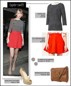 Taylor Swift Style is classic, pairing a red skirt with a striped top http://fashionilluminati.com/taylor-swift-style-get-look/