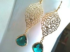 Emerald Green Wedding Earrings Gold Drop by LaLaCrystal on Etsy, $26.00