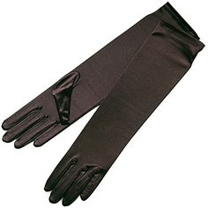 "ZaZa Bridal 15.5"" Long Shiny Stretch Satin Dress Gloves Below-The-Elbow Length 8BL-Dark Brown"