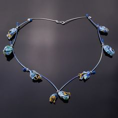 Blue Rot Necklace by Mirela Tufan (Titanium, Sterling Silver, Ink and Plastic)