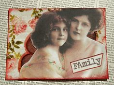"SALE ACEO ATC one-of-a-kind collage and ink ""Family"" by PaperPastiche on Etsy"