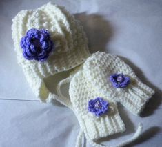 Crocheted Baby Irish Knit Hat w Lavender Flower.matching | Etsy Crochet Mittens, Hand Crochet, Crochet Baby, Knitted Hats, Knit Crochet, Handmade Baby, Handmade Clothes, Toddler Sweater, Little Baby Girl