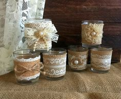naturlap burlap and lace covered votive tea candles, country chic wedding decoration, bridal shower decor or home decor, vintage style