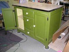 Vintage Enamel Top Cabinet Retro Green Paint Bath Storage Laundry ...